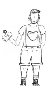 a sketch of a 90s girl costume, the person is holding a joystick