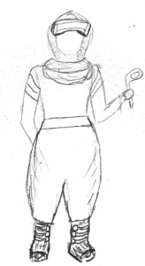a sketch of a scarf wearing person with a VR headset and controller