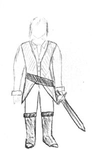 a sketch of a medieval man's costume with a sword