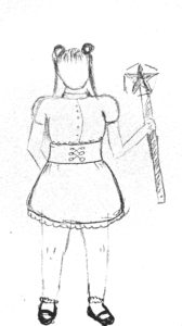 a sketch of a magical girl costume